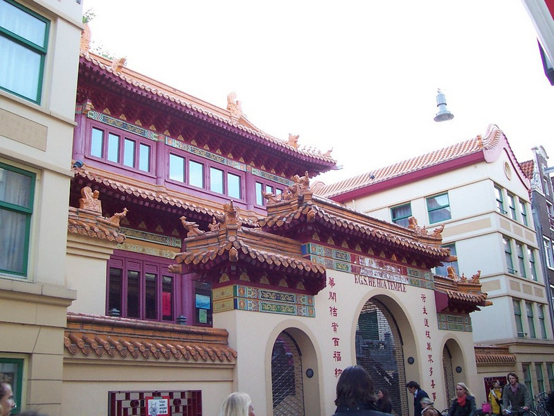 A Chinese temple in the heart of Amsterdam's developing Chinatown neighborhood.