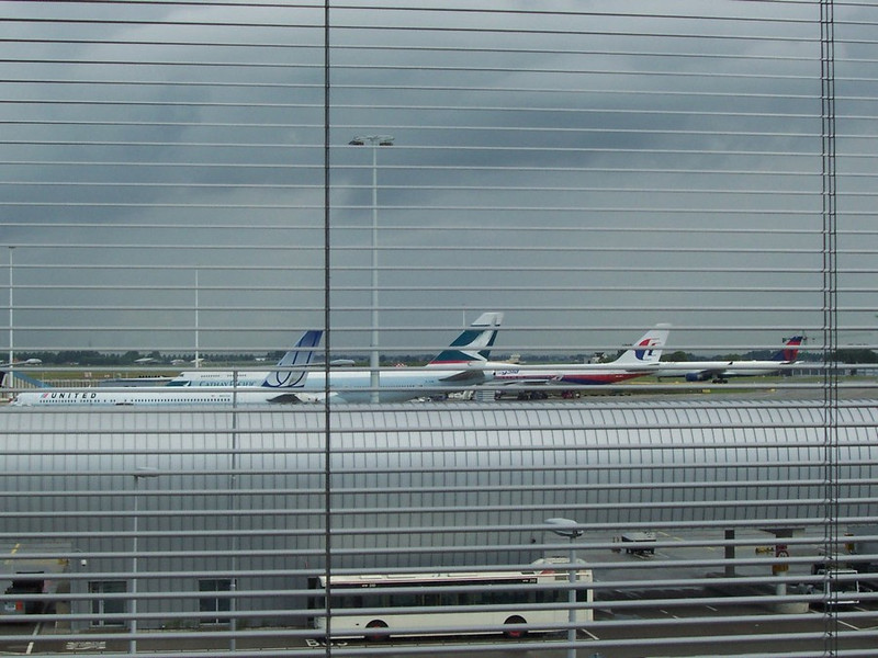Runway view from our room at our hotel at Schiphol (the Amsterdam airport).