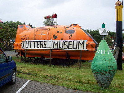 A lifeboat at the entrance of the Jutters Museum. Jutters are Dutch beach scavengers who will gather anything of value that washes up on the beach.