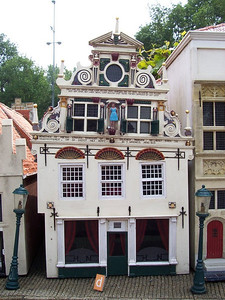Madurodam: a theme park with miniature models of famous places throughout Holland. This is a typical leaning house in Amsterdam.