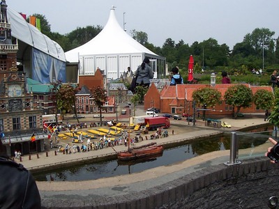 Madurodam: a theme park with miniature models of famous places throughout Holland. This model shows the cheese market in Alkmaar.