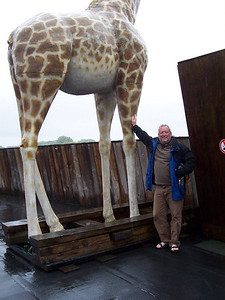 Chris with one of the giraffes on Noah's ark.