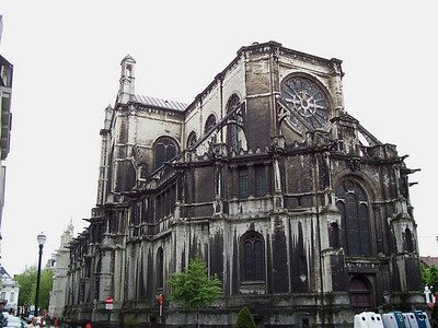 A very old cathedral across the street from our hotel in Brussels.
