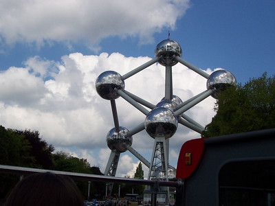 The Atomium. Built for the 1958 World's Fair in Brussels. This structure is over 300 feet tall, each sphere is 60 feet in diameter. Elevators and escalators carry visitors up through the tubes and spheres to the observation deck in the top. The structure is a model of an iron atom enlarged 165 billion times.