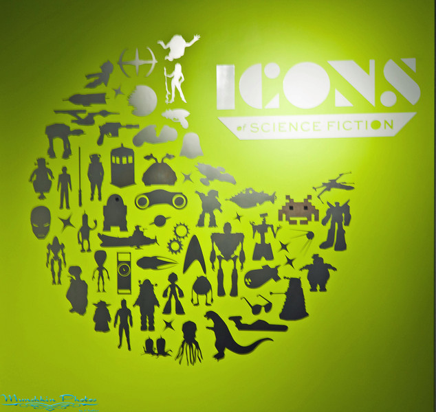 Enterance of Sci-Fi museum. How many silhouettes can you name?