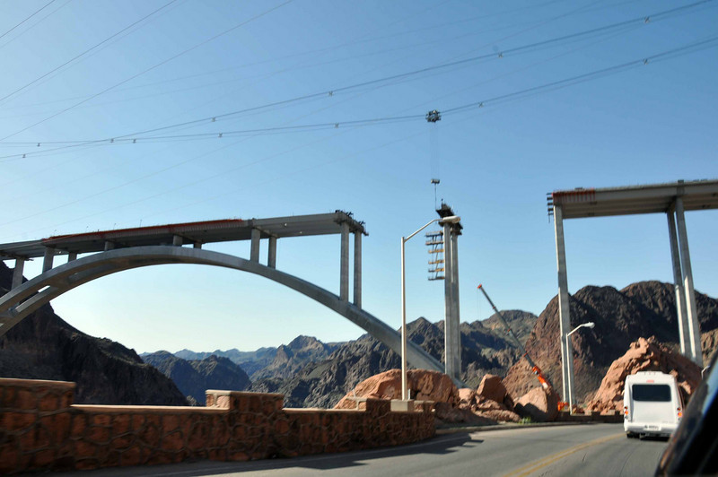 Hoover Dam 3/26/10. During construction, an overhead cable crane is used.