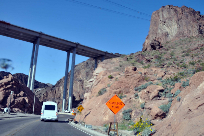 Hoover Dam 3/26/10. The bridge looms large, over the road to the dam.