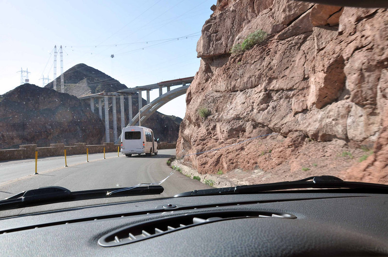 In the MINI, approaching Hoover Dam from the Nevada side, the new bypass bridge comes into view.