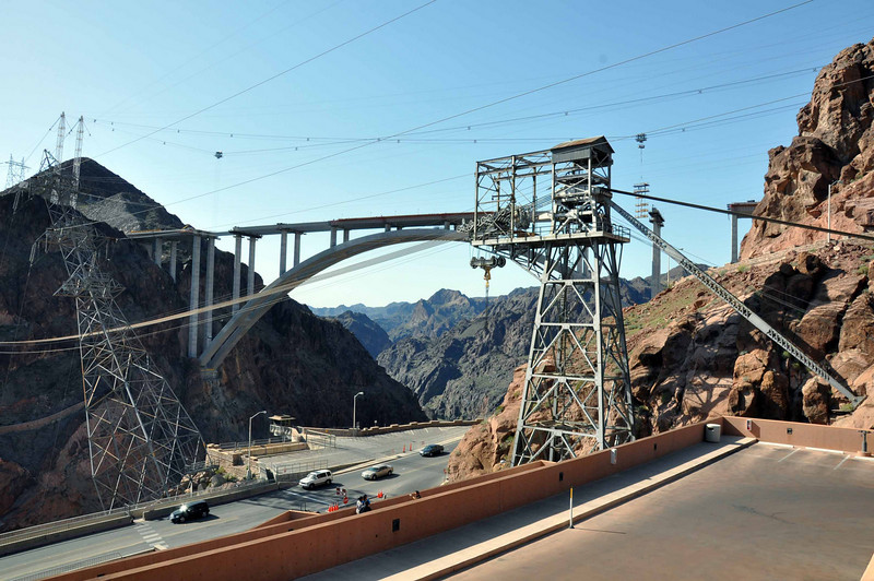 Hoover Dam 3/26/10. The view of the bridge from the top of the visitor's center parking garage.