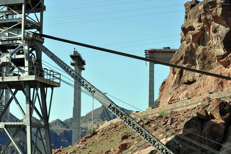 Hoover Dam 3/26/10. Bridge, under construction with the power lines in the foreground.