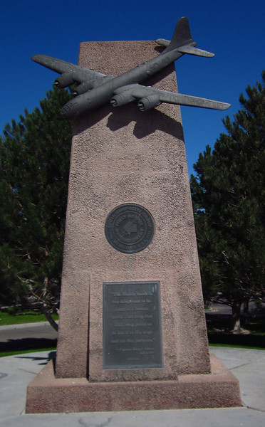 Monument to nearby bomber training base.  The squadron that dropped the atomic bombs on Japan in 1945 trained here.