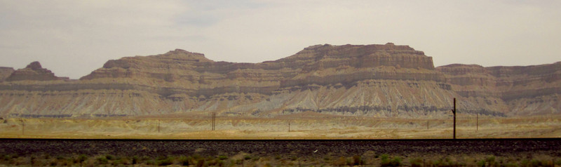 Rails and rocks beside the road.  Okay, big, mountainous rocks.