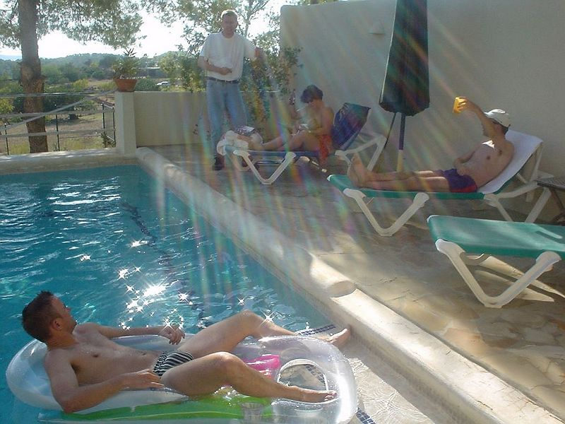 The pool, sunshine, beds, water, lounge chairs... aaah, this is the life.
