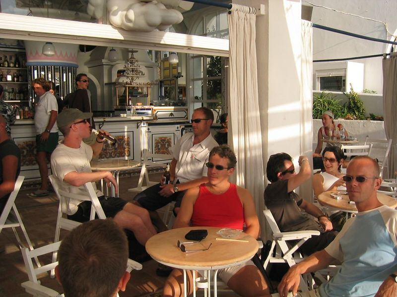 Chilling the next day in Café del Mar.