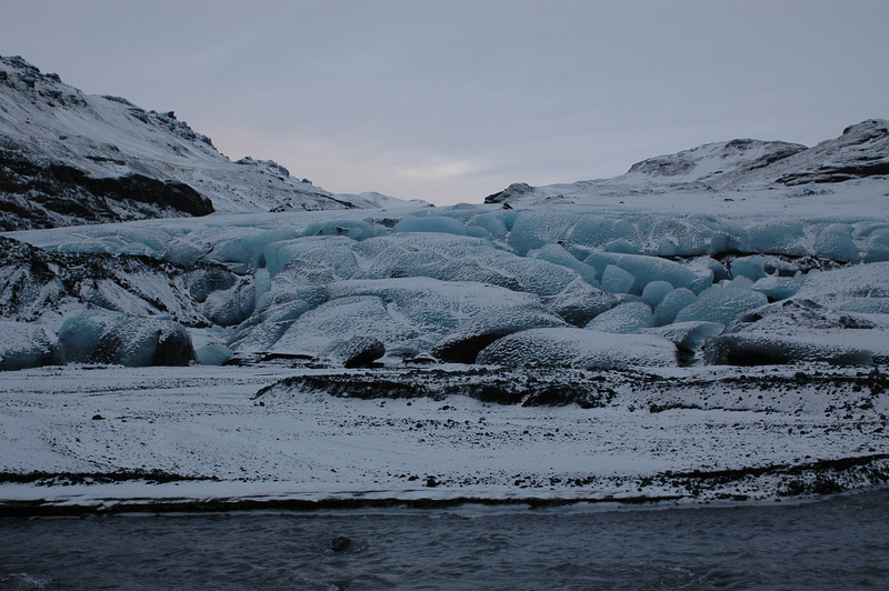 Beautiful blue ice at the glacier