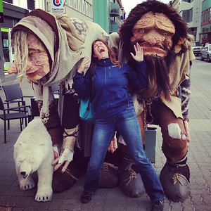 Iceland: land of trolls and elves. Kris reacts well to the trolls in Akureyri :-)