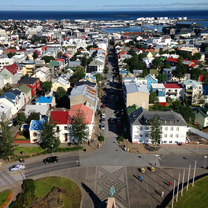 View of a clear morning in Reykjavik. Taken from the top of the Hallgrimskirkja -- the only cathedral in all of Iceland.