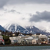The city of Akureyri as seen from a boat.