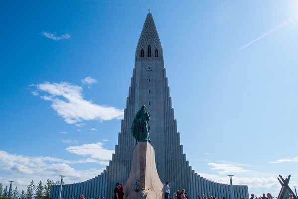 Hallgrímskirkja and the Leifur Eiríksson statue.  This is a Lutheran church built to resemble basalt columns.  I wasn't sure of protocol, so I did not take any indoor pictures, but it was very sunny and open inside with a huge pipe organ on the tower wall of the sanctuary.  The line was a little too long to go up into the bell tower.