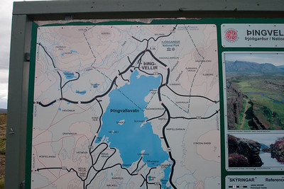 Thingvellir park map and sign