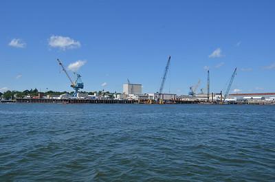 No visible submarines at Portsmith Naval Shipyard