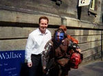 Matt outside of Edinburgh Castle with William Wallace and and the head of an unnamed Englishman!