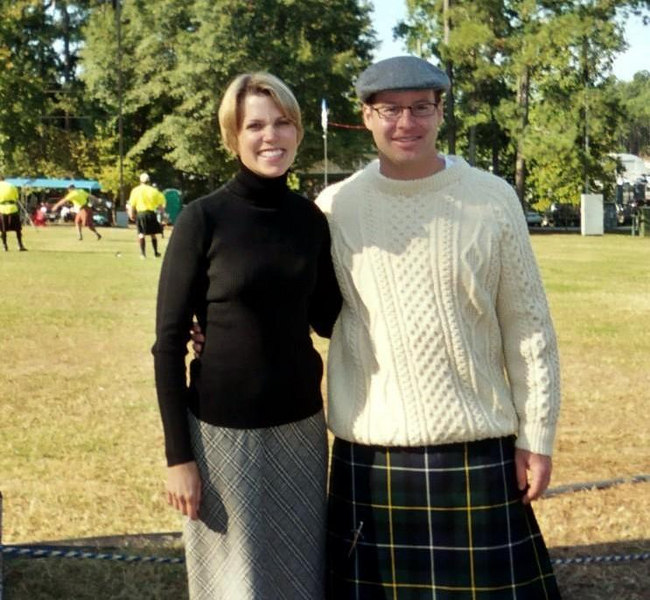 A manly man with his bonnie lass at the Highland Games!