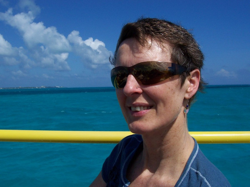 Caroline on the ferry headed to Isla Mujeres. It was a breezy ride on the top deck but the water & views were amazing!