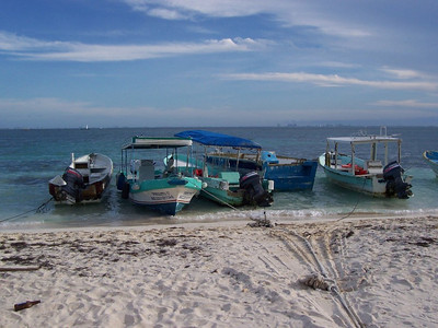 Colorful fishing boats (called pangas).