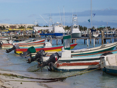 Colorful fishing boats or pangas ready for duty.