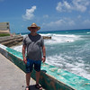 Along the malecon (a sidewalk along the eastern shore of Isla Mujeres). Waves are rougher on this side of the island because the shore is exposed to the open water of the Carribean.