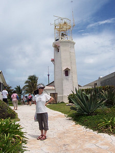 Caroline at the lighthouse on the southern tip of Isla Mujeres.
