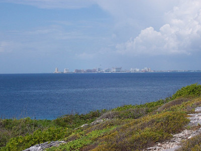A view across the bay to Cancun from the southern tip of Isla Mujeres.