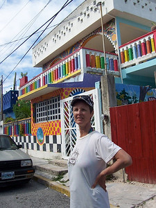 """Caroline in front of the """"Crayon House"""" in La Gloria."""