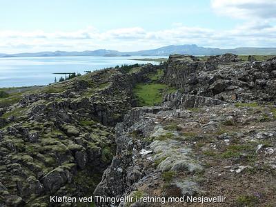 Kløften ved Thingvellir i retning mod Nesjavellir