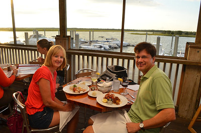 Kathy had seafood assortment (Lobster, scallops, shrimp, tilapia) and Ed had Lobster tails with crab cake.
