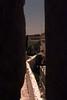Peeking through an arrow slit in the Old City wall, Jerusalem