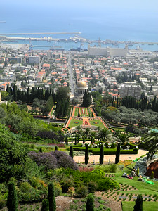 Looking down on the Baha'i Shrine from the top of the gardens