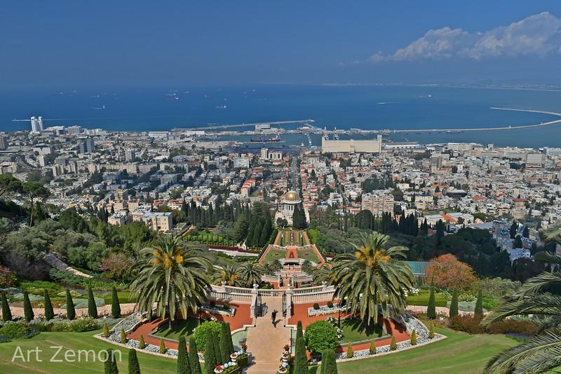 View of the Bahai Gardens and Haifa