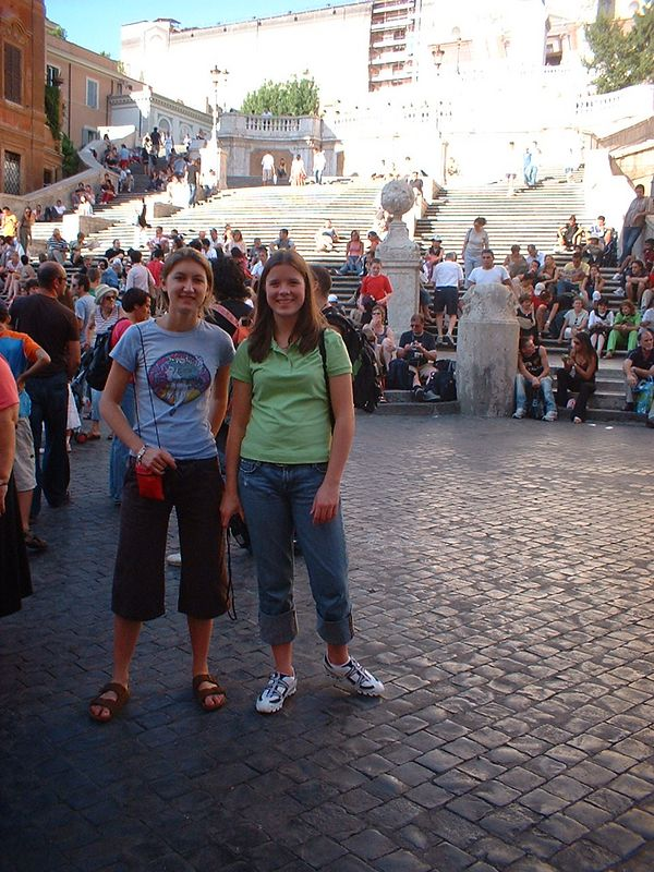 Cindy and Natalie at the Spanish Steps, Rome