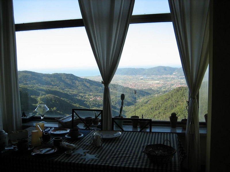 View from breakfast table at our B&B in Vosdinovo