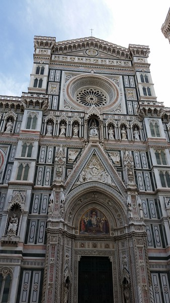 Florence's Cathedral (The Duomo)  started in the 13th century and completed in the 15th century it is an amazingly highly detailed structure