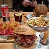 The final meal of the trip in Barcelona, the wife wanted to eat burgers so we went to La Central. I had a Iberica ham topped burger with fries. She had the Azul burger with blue cheese, bacon and spinach