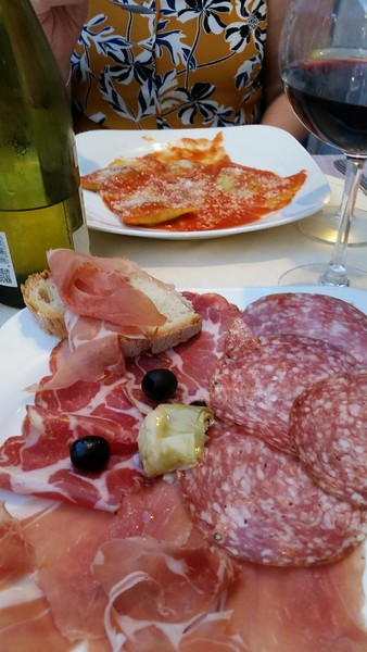 First dinner in Rome, the wife had stuffed ravioli and I had Italian meats with bread and of course a nice glass of Chianti
