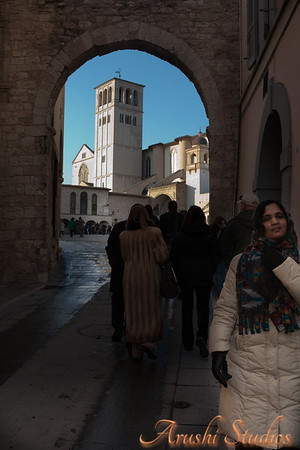 Entry way to the basilica in Assisi.