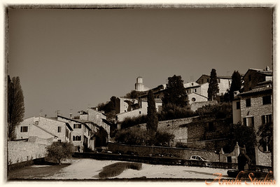 An old photo of the town of Assisi.  Not really ... Haha ... can you spy the cars in the picture.
