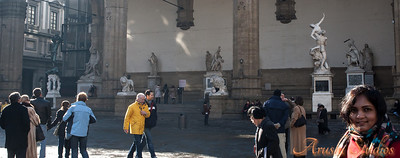 Sag in front of all the statues in Loggia dei Lanzi