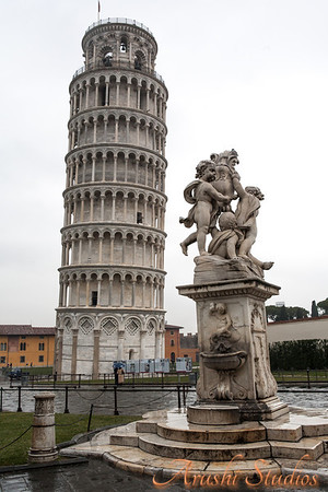 Beautiful statue near the leaning tower of Pisa in the piazza.