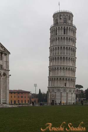 This is the closest view of the Leaning tower of Pisa which still shows its lean. Any closer it is too large to see its inclination.