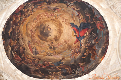 The interior of the dome of the church-decorated in fresco.